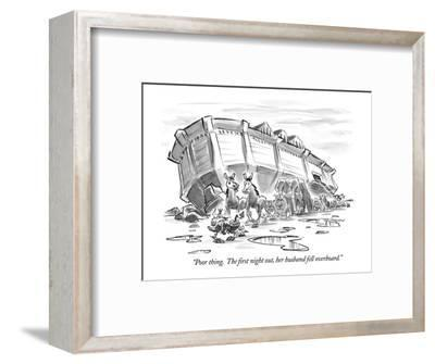 """Poor thing.  The first night out, her husband fell overboard."" - New Yorker Cartoon-Lee Lorenz-Framed Premium Giclee Print"