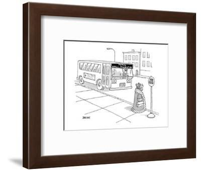 King waiting at bus stop for bus with destination: Total World Domination. - New Yorker Cartoon-Jack Ziegler-Framed Premium Giclee Print