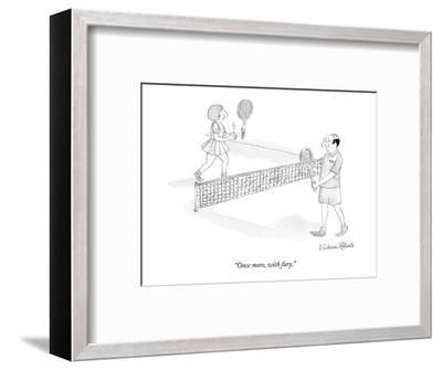"""""""Once more, with fury."""" - New Yorker Cartoon-Victoria Roberts-Framed Premium Giclee Print"""