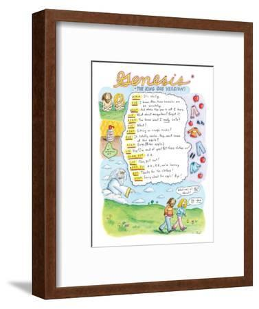 """Genesis"" ""*The King Gus Version"" - New Yorker Cartoon-Roz Chast-Framed Premium Giclee Print"