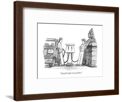 """I just feel safer in one of these."" - New Yorker Cartoon-Jason Patterson-Framed Premium Giclee Print"