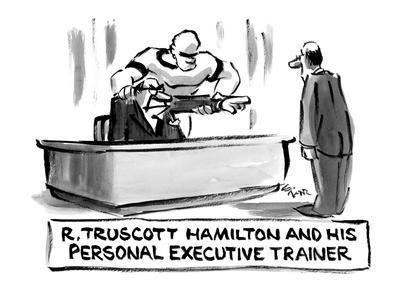 Truscott Hamilton and his Personal Executive Trainer - New Yorker Cartoon-Lee Lorenz-Framed Premium Giclee Print