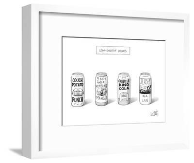 "Four 'Low Energy Drinks"": Couch Potato Punch, 3 Kids and a Mortgage Mango,? - New Yorker Cartoon-Glen Le Lievre-Framed Premium Giclee Print"