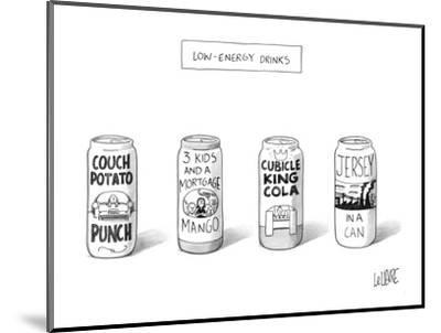"Four 'Low Energy Drinks"": Couch Potato Punch, 3 Kids and a Mortgage Mango,? - New Yorker Cartoon-Glen Le Lievre-Mounted Premium Giclee Print"