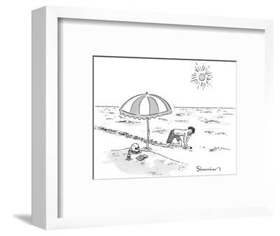 A man crawling through the desert comes across a skeleton buried up to the… - New Yorker Cartoon-Danny Shanahan-Framed Premium Giclee Print