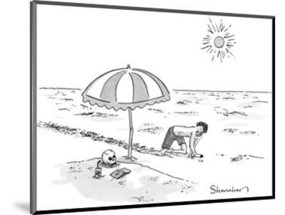 A man crawling through the desert comes across a skeleton buried up to the… - New Yorker Cartoon-Danny Shanahan-Mounted Premium Giclee Print