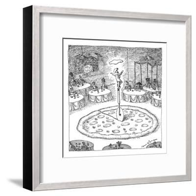 "In the middle of a restaurant, a chef balances atop a giant pizza-cutter (?"" - New Yorker Cartoon-John O'brien-Framed Premium Giclee Print"