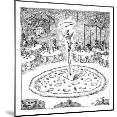 "In the middle of a restaurant, a chef balances atop a giant pizza-cutter (?"" - New Yorker Cartoon-John O'brien-Mounted Premium Giclee Print"