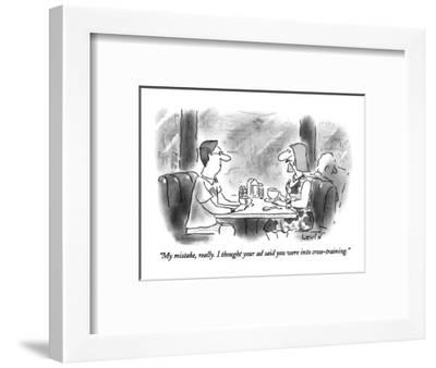 """""""My mistake, really. I thought your ad said you were into cross-training."""" - New Yorker Cartoon-Arnie Levin-Framed Premium Giclee Print"""
