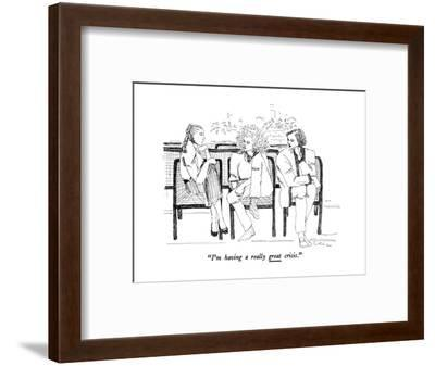 """I'm having a really great crisis."" - New Yorker Cartoon-Richard Cline-Framed Premium Giclee Print"