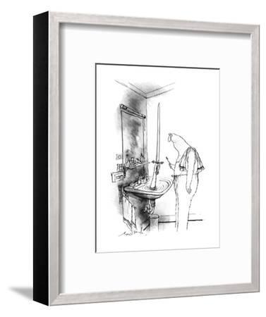 Man in bathroom. A hand reaches out of a water-filled sink holding up a sw? - New Yorker Cartoon-Ronald Searle-Framed Premium Giclee Print