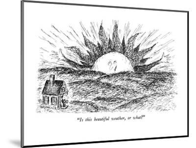 """""""Is this beautiful weather, or what?"""" - New Yorker Cartoon-Edward Koren-Mounted Premium Giclee Print"""