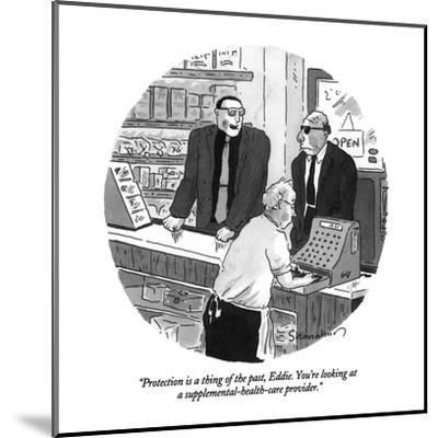 """""""Protection is a thing of the past, Eddie.  You're looking at a supplement?"""" - New Yorker Cartoon-Danny Shanahan-Mounted Premium Giclee Print"""