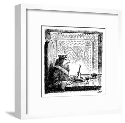 King sits at a table and sees hand rising from his bowl, holding a spoon a… - New Yorker Cartoon-John Jonik-Framed Premium Giclee Print