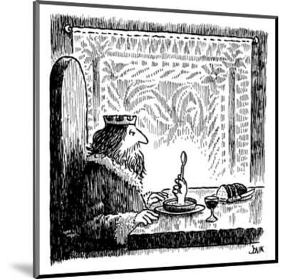 King sits at a table and sees hand rising from his bowl, holding a spoon a… - New Yorker Cartoon-John Jonik-Mounted Premium Giclee Print