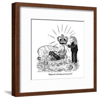 """Maybe this will make you less of a jerk!"" - New Yorker Cartoon-Edward Koren-Framed Premium Giclee Print"