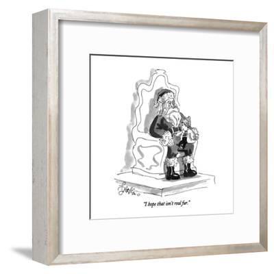 """I hope that isn't real fur."" - New Yorker Cartoon-Edward Frascino-Framed Premium Giclee Print"