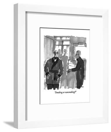 """Smoking or nonsmoking?"" - New Yorker Cartoon-Michael Crawford-Framed Premium Giclee Print"