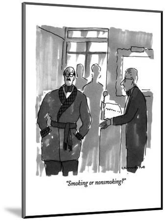 """Smoking or nonsmoking?"" - New Yorker Cartoon-Michael Crawford-Mounted Premium Giclee Print"