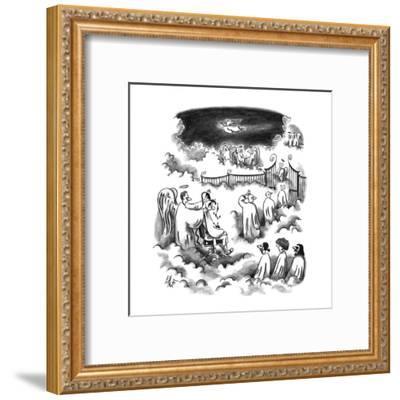 An angel shaving all the new angel's heads before entering Heaven - New Yorker Cartoon-Frank Cotham-Framed Premium Giclee Print