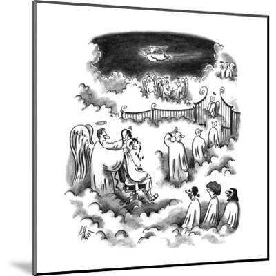 An angel shaving all the new angel's heads before entering Heaven - New Yorker Cartoon-Frank Cotham-Mounted Premium Giclee Print