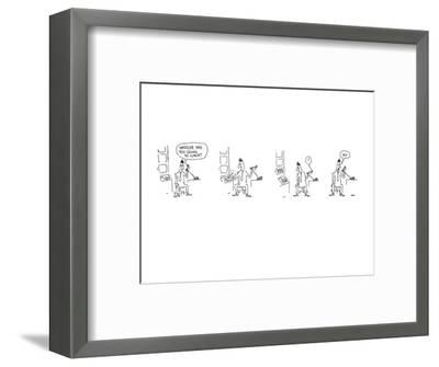 Four drawings depicting a man being asked over the telephone if he is goin? - New Yorker Cartoon-George Booth-Framed Premium Giclee Print