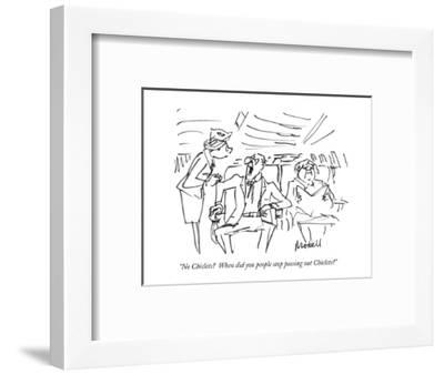 """No Chiclets?  When did you people stop passing out Chiclets?"" - New Yorker Cartoon-Frank Modell-Framed Premium Giclee Print"