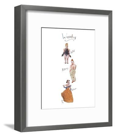 """Three rather burly men in drag, labeled, respectively, """"RuPhil"""", """"RuMurray? - New Yorker Cartoon-Barry Blitt-Framed Premium Giclee Print"""
