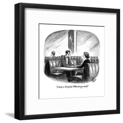 """I carry a .38 special.  What do you carry?"" - New Yorker Cartoon-Frank Cotham-Framed Premium Giclee Print"