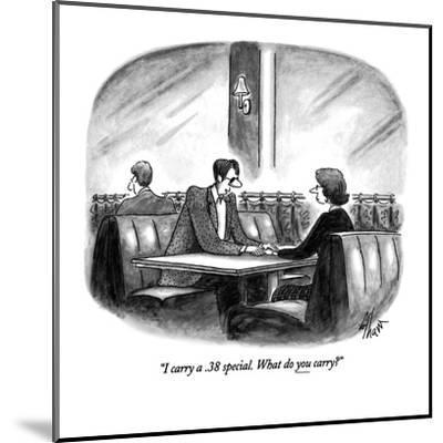 """""""I carry a .38 special.  What do you carry?"""" - New Yorker Cartoon-Frank Cotham-Mounted Premium Giclee Print"""