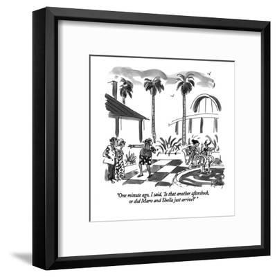 """One minute ago, I said, 'Is that another aftershock, or did Marv and Shei?"" - New Yorker Cartoon-Donald Reilly-Framed Premium Giclee Print"