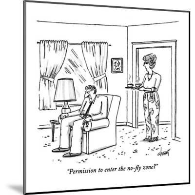 """""""Permission to enter the no-fly zone?"""" - New Yorker Cartoon-Tom Cheney-Mounted Premium Giclee Print"""