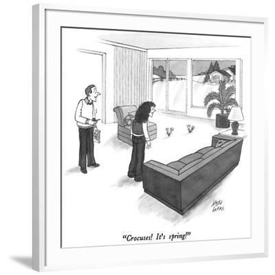 """Crocuses!  It's spring!"" - New Yorker Cartoon-Joseph Farris-Framed Premium Giclee Print"