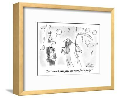 """Last time I saw you, you were just a baby."" - New Yorker Cartoon-Arnie Levin-Framed Premium Giclee Print"