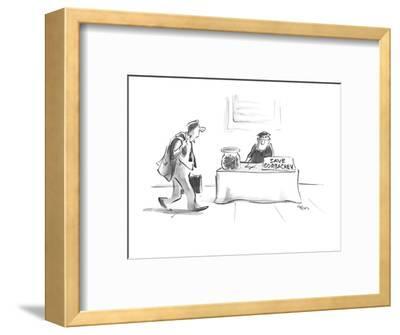 "Man sitting on street corner with sign ""Save Gorbachev"". - New Yorker Cartoon-Lee Lorenz-Framed Premium Giclee Print"