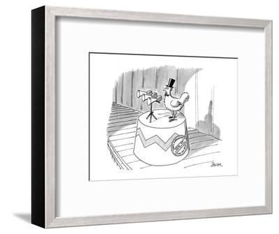 Chickhen with top-hat, a seal on it's stand reads 'Nat'l Endowment Seal of? - New Yorker Cartoon-Jack Ziegler-Framed Premium Giclee Print