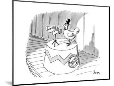 Chickhen with top-hat, a seal on it's stand reads 'Nat'l Endowment Seal of? - New Yorker Cartoon-Jack Ziegler-Mounted Premium Giclee Print