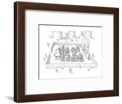 Men on horseback at drive-in movie. - New Yorker Cartoon-John O'brien-Framed Premium Giclee Print