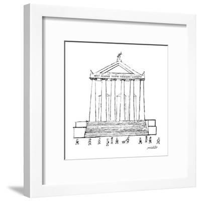 """Court house with title """"Hey! Justice Truth Equality Liberty."""" - New Yorker Cartoon-Mischa Richter-Framed Premium Giclee Print"""