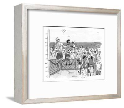 People are let onto beach by bouncer like a club. - New Yorker Cartoon-Danny Shanahan-Framed Premium Giclee Print
