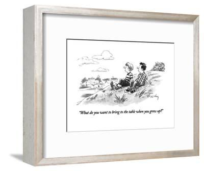 """""""What do you want to bring to the table when you grow up?"""" - New Yorker Cartoon-Mike Twohy-Framed Premium Giclee Print"""