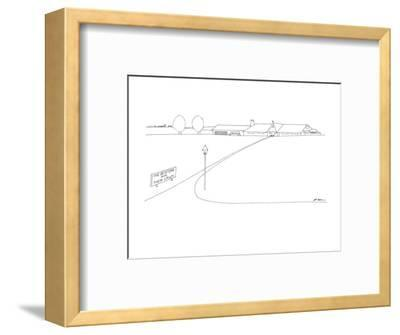 On the side of a lawn there is a sign that reads 'The Bentons and Their La? - New Yorker Cartoon-Ed Arno-Framed Premium Giclee Print