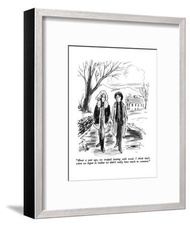 """""""About a year ago, we stopped heating with wood.  I think that's when we b?"""" - New Yorker Cartoon-Warren Miller-Framed Premium Giclee Print"""
