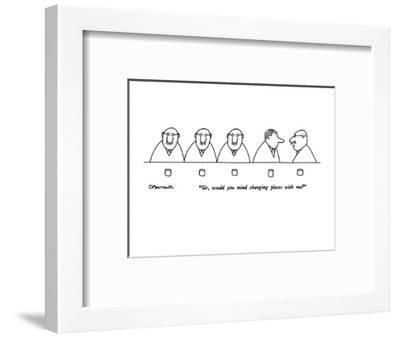 """Sir, would you mind changing places with me?"" - New Yorker Cartoon-Charles Barsotti-Framed Premium Giclee Print"