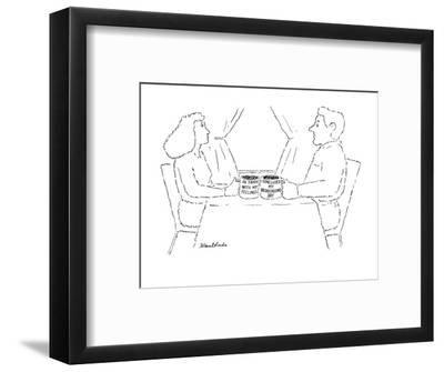 "Woman and man each with a mug, the woman's says ""In touch with my feelings? - New Yorker Cartoon-Stuart Leeds-Framed Premium Giclee Print"