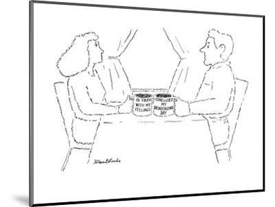 """Woman and man each with a mug, the woman's says """"In touch with my feelings? - New Yorker Cartoon-Stuart Leeds-Mounted Premium Giclee Print"""
