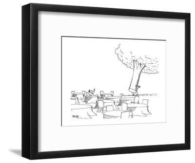 Man, sitting at tree stump table, motions to a waiter to bring over the re? - New Yorker Cartoon-Jack Ziegler-Framed Premium Giclee Print