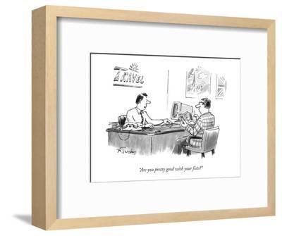 """""""Are you pretty good with your fists?"""" - New Yorker Cartoon-Mike Twohy-Framed Premium Giclee Print"""