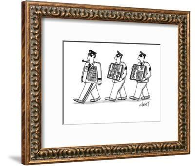 Men walking after general with this extra medals. - New Yorker Cartoon-Tom Cheney-Framed Premium Giclee Print