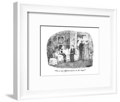 """""""I'm a very different person on the slopes."""" - New Yorker Cartoon-Robert Weber-Framed Premium Giclee Print"""